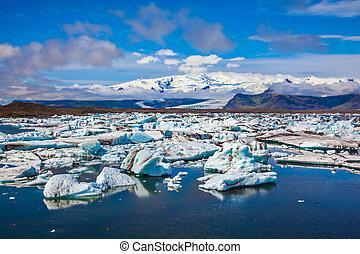 lagoon., tração, gelo