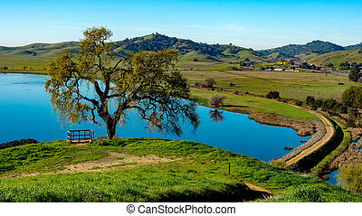 Lagoon Valley Park lake overview from hill - Panoramic view...