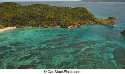 Lagoon with turquoise water - aerial footage lagoon with...