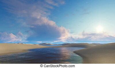 Lagoons among unique white sand dunes in Brazil - Unique...