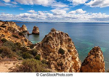lagos , algarve , πορτογαλία , ακτογραμμή