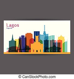 Lagos city architecture silhouette. Colorful skyline.