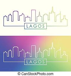 Lagos skyline. Colorful linear style.