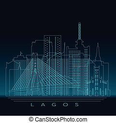 Lagos skyline, detailed silhouette.