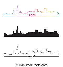 Lagos skyline linear style with rainbow