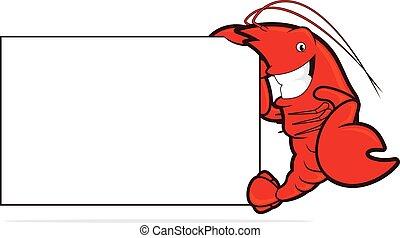 lagosta, tábua, segurando, em branco
