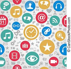 lagrar, eps10, lätt, färgrik, ikonen, media, organiserad, seamless, bakgrund., editing., vektor, fil, social, mönster