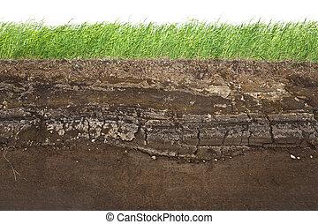lagrar, smutsa, vit, gräs, isolerat