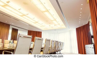 Lagre well lit conference room in the hotel