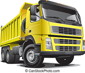 Detailed vectorial image of large yellow truck, isolated on white background. File contains gradients.