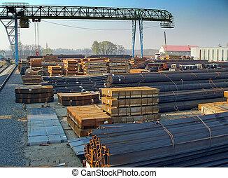 lagring, av, stål, produkter