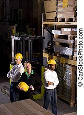 lagring, boss, kvindelig, opmagasiner arbejdere, multi-ethnic
