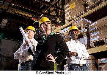lagring, boss, kvindelig, opmagasiner arbejdere