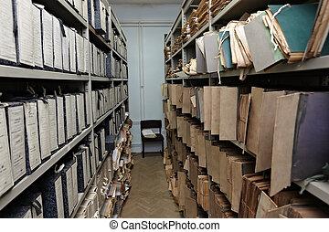 lagring, fil, gammal, dokument, årgång, rum