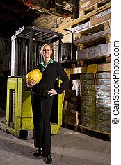 lagring, kvindelig, kontor, beliggende, opmagasinere, arbejder