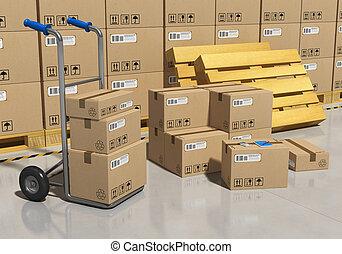 lagring, lager, med, packat, gods