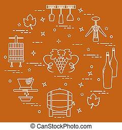 lagring, winemaking:, kultur, produktion, drickande, vin.