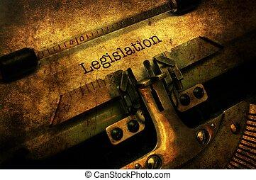 lagstiftning, brev, på, skrivmaskin