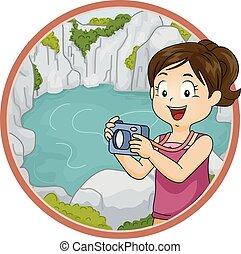 lagun, flicka, utforska, illustration, unge