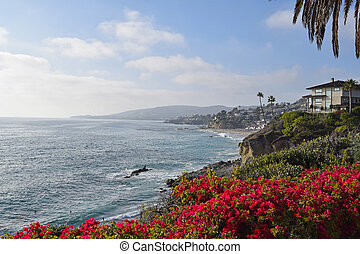 A view of Laguna Beach on a summer afternoon. Laguna is a beach community in Southern, California.
