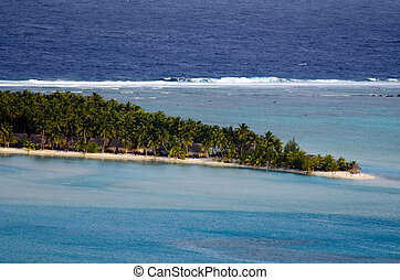 laguna, cocinero, vista, aéreo, islas, aitutaki