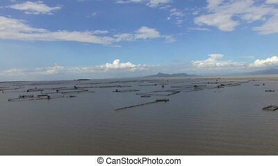 Laguna de Bay huge lake replete with man made bamboo...