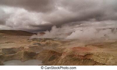 Laguna Hot Springs Landscape, Atacama, Bolivia - Wide...