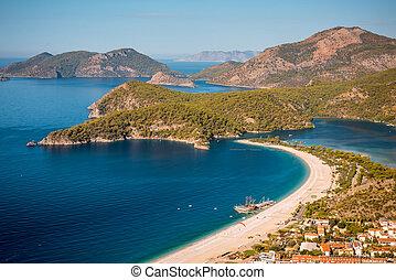 laguna, oludeniz, morze, plaża, krajobraz, prospekt