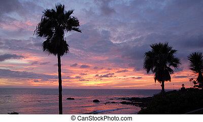 laguna, scénique, plage, coucher soleil