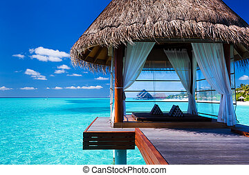 laguna, tropical, balneario, overwater, bungalows