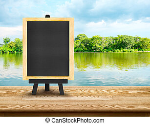 lagune, blauwe , lege, hemel, hout, achtergrond, tafel, bos