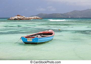 lagune, seychelles, digue, bateau, la