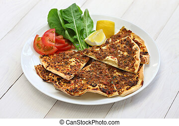 lahmacun, turkish minced meat pizza