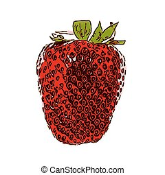 lahodnost, chutný, strawberry., vektor, illustration., eps10