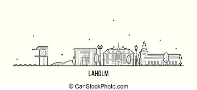 Laholm skyline, Laholm Municipality, Halland County, Sweden. This illustration represents the city with its most notable buildings. Vector is fully editable, every object is holistic and movable