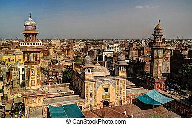 lahore, paquistán, kan, mezquita, wazir