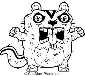 laid, fâché, dessin animé, écureuil rayé