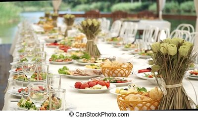 Laid holiday table with snacks