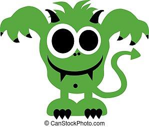 laid, sourire, monstre vert