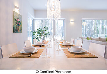 Laid table in dining room