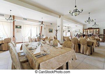 Laid tables in elegant restaurant