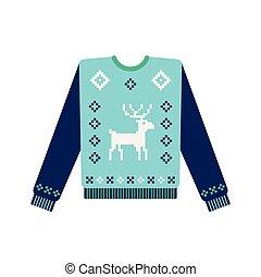laid, tricoté, noël, cerf, chandail