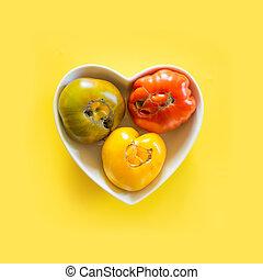 laid, vegetables., tomate, coloré, organique, plaque, formé, heart., concept