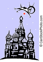 Laika over Red Square - Laika the cosmonaut dog flying over...