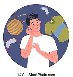 laine, allergique, skin., homme, réaction, rouges, ou, textile, itchy, allergy.