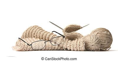 laine, balle, tricot, lunettes, spokes, fini, fond, pas, blanc