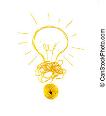 laine, concept, idée, ball., innovation