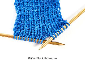 laine, deux, isolé, tissu, spokes, tricotter