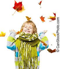laine, feuilles, érable, enfant joue, écharpe