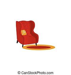 laine, rug., fauteuil, couverture, vecteur, ou